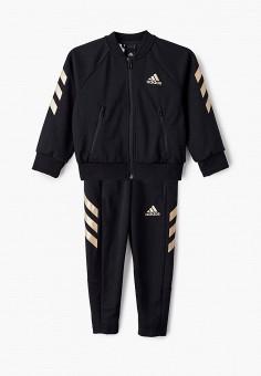 Костюм спортивный, adidas, цвет: черный. Артикул: AD002EBJMBB9. Мальчикам / Одежда