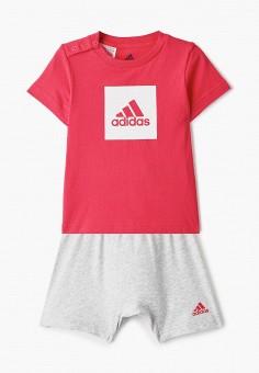 Костюм спортивный, adidas, цвет: розовый, серый. Артикул: AD002EGHZUY4. Новорожденным / Одежда