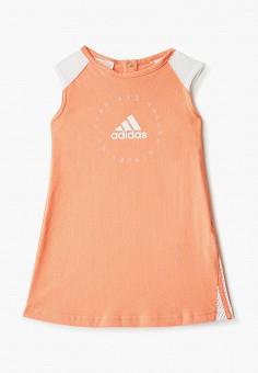 Платье, adidas, цвет: оранжевый. Артикул: AD002EGHZVF7. Девочкам / Одежда / Платья и сарафаны