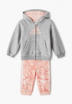 Костюм спортивный, adidas, цвет: коралловый, серый. Артикул: AD002EGJMBE6. Новорожденным / Одежда