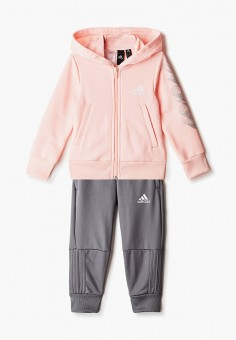 Костюм спортивный, adidas, цвет: розовый, серый. Артикул: AD002EGJMBI3. Девочкам / Одежда