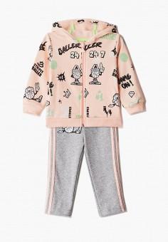 Костюм спортивный, adidas, цвет: розовый, серый. Артикул: AD002EGJMBI9. Новорожденным / Одежда