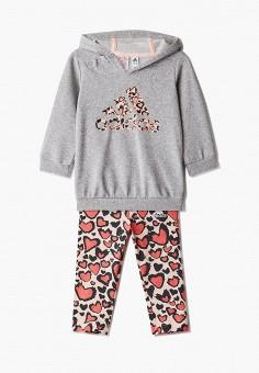 Костюм спортивный, adidas, цвет: коралловый, серый. Артикул: AD002EGJMBK4. Новорожденным / Одежда