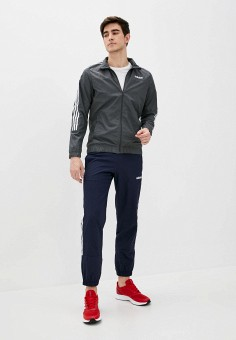 Костюм спортивный, adidas, цвет: серый, синий. Артикул: AD002EMJMND3. Одежда / Спортивные костюмы