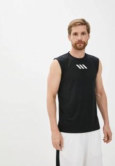 Майка спортивная, adidas, цвет: черный. Артикул: AD002EMJMNK8. Одежда / Майки