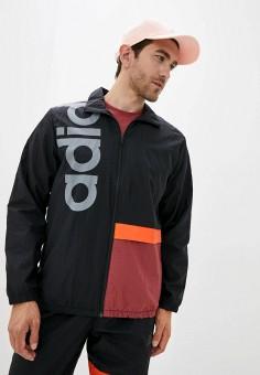 Ветровка, adidas, цвет: черный. Артикул: AD002EMJMNO1. Одежда / Верхняя одежда / Легкие куртки и ветровки