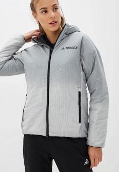 Куртка утепленная, adidas, цвет: серый. Артикул: AD002EWFKAC9. Одежда / Верхняя одежда