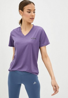 Футболка спортивная, adidas, цвет: фиолетовый. Артикул: AD002EWIYPL2. Одежда / Одежда больших размеров
