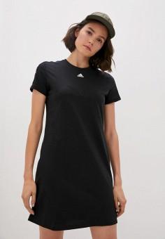 Платье, adidas, цвет: черный. Артикул: AD002EWJMTN6. Одежда / Платья и сарафаны