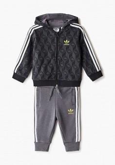Костюм спортивный, adidas Originals, цвет: серый, черный. Артикул: AD093EBJLVT9. Новорожденным / Одежда