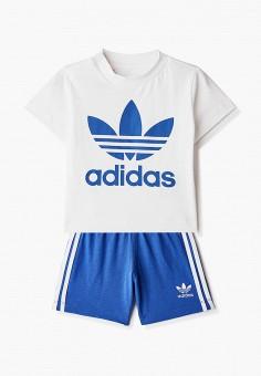 Костюм спортивный, adidas Originals, цвет: белый, синий. Артикул: AD093EBJLVX9. Новорожденным / Одежда