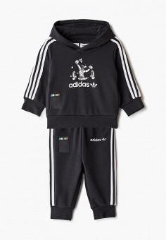 Костюм спортивный, adidas Originals, цвет: черный. Артикул: AD093EBJLWA0.