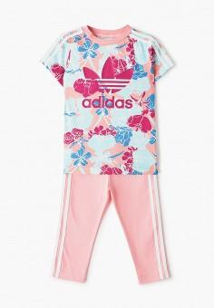 Костюм спортивный, adidas Originals, цвет: розовый, голубой. Артикул: AD093EGIALY0. Девочкам / Спорт
