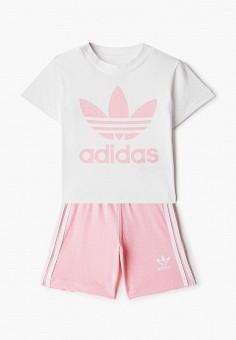 Костюм спортивный, adidas Originals, цвет: белый, розовый. Артикул: AD093EGJLWB1. Новорожденным / Одежда