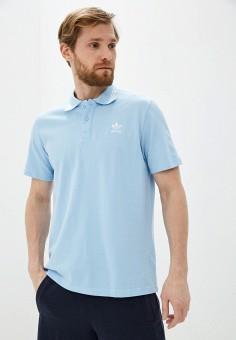 Поло, adidas Originals, цвет: голубой. Артикул: AD093EMHLER9.