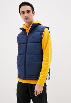 Жилет утепленный, adidas Originals, цвет: синий. Артикул: AD093EMJLYW0. Одежда / Верхняя одежда / Жилеты