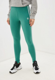 Леггинсы, adidas Originals, цвет: зеленый. Артикул: AD093EWHLJB1. Одежда / Брюки / Леггинсы