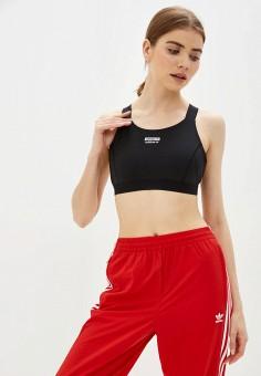 Топ спортивный, adidas Originals, цвет: черный. Артикул: AD093EWJMAD0. Одежда / Топы и майки