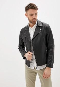 Куртка кожаная, Armani Exchange, цвет: черный. Артикул: AR037EMHOTH5.