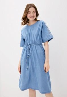 Платье джинсовое, Baon, цвет: синий. Артикул: BA007EWIHGF4.