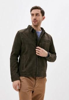 Куртка кожаная, Banana Republic, цвет: хаки. Артикул: BA067EMIDDD4. Одежда / Верхняя одежда / Кожаные куртки