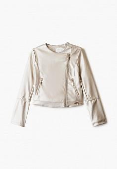 Куртка кожаная, Blukids, цвет: золотой. Артикул: BL025EGHRPQ3. Девочкам / Одежда