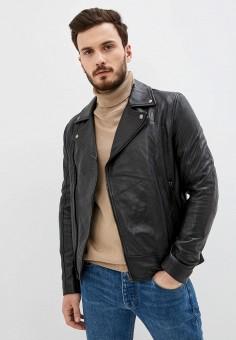Куртка кожаная, Blouson, цвет: черный. Артикул: BL033EMHSKB2. Одежда / Верхняя одежда