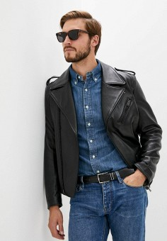 Куртка кожаная, Blouson, цвет: черный. Артикул: BL033EMJTMV0. Одежда / Верхняя одежда