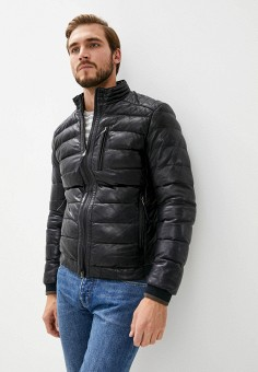 Куртка кожаная, Blouson, цвет: черный. Артикул: BL033EMKKPA4. Одежда / Верхняя одежда / Кожаные куртки