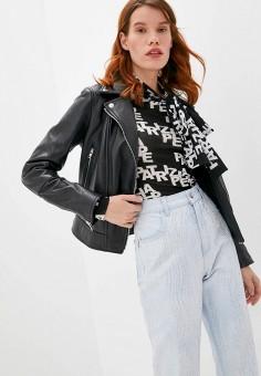 Куртка кожаная, Blouson, цвет: черный. Артикул: BL033EWJTMV2. Одежда / Верхняя одежда / Кожаные куртки