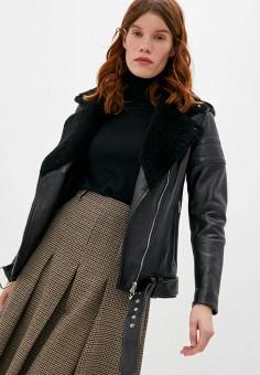 Куртка кожаная, Blouson, цвет: черный. Артикул: BL033EWJTMV3. Одежда / Верхняя одежда / Кожаные куртки
