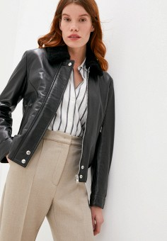 Куртка кожаная, Blouson, цвет: черный. Артикул: BL033EWJTMV8. Одежда / Верхняя одежда / Кожаные куртки