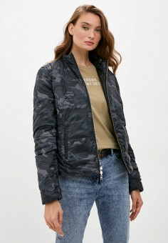 Куртка кожаная, Blouson, цвет: хаки, черный. Артикул: BL033EWKKPA8. Одежда / Верхняя одежда / Кожаные куртки
