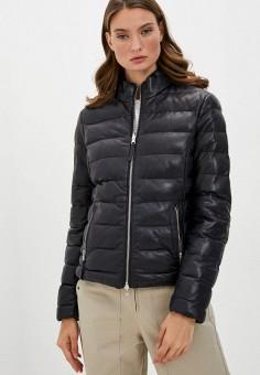 Куртка кожаная, Blouson, цвет: синий, хаки. Артикул: BL033EWKKPA9. Одежда / Верхняя одежда / Кожаные куртки