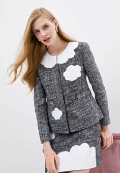 Пиджак, Boutique Moschino, цвет: серый. Артикул: BO036EWHHHP9. Одежда / Пиджаки и костюмы