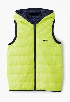 Жилет утепленный, Boss, цвет: желтый, синий. Артикул: BO246EBKHGW3. Мальчикам / Одежда / Верхняя одежда