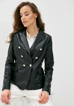 Куртка кожаная, B.Style, цвет: черный. Артикул: BS002EWJBOM8. Одежда / Верхняя одежда / Кожаные куртки