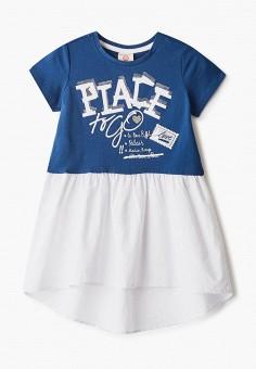 Платье, Button Blue, цвет: синий. Артикул: BU019EGIFXR7. Девочкам / Одежда / Платья и сарафаны