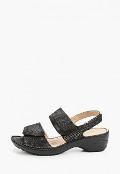 Босоножки, Caprice, цвет: черный. Артикул: CA107AWIACX1. Обувь / Обувь с увеличенной полнотой