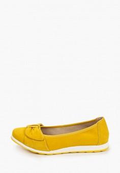 Балетки, Caprice, цвет: желтый. Артикул: CA107AWIADF6. Обувь / Обувь с увеличенной полнотой