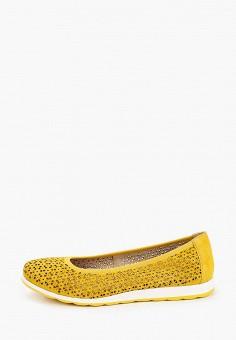 Балетки, Caprice, цвет: желтый. Артикул: CA107AWIAEF4. Обувь / Балетки