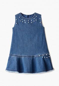 Платье джинсовое, Chicco, цвет: синий. Артикул: CH001EGIBIS2. Девочкам / Одежда / Платья и сарафаны