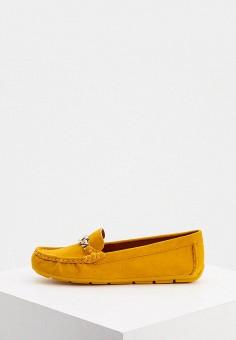 Мокасины, Coach, цвет: желтый. Артикул: CO069AWJSLE1. Обувь / Мокасины и топсайдеры