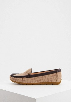 Мокасины, Coach, цвет: бежевый. Артикул: CO069AWJSLE9. Обувь / Мокасины и топсайдеры