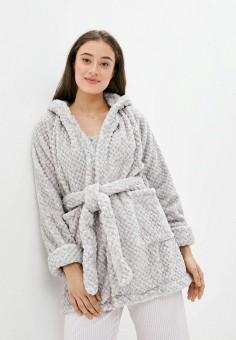 Халат домашний, Cotton On, цвет: серый. Артикул: CO092EWJPSV7. Одежда / Домашняя одежда / Халаты