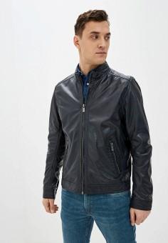 Куртка кожаная, Deercraft, цвет: синий. Артикул: DE043EMHOQN0. Одежда / Верхняя одежда / Кожаные куртки