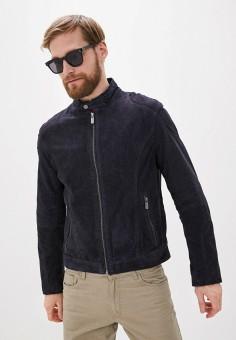 Куртка кожаная, Deercraft, цвет: синий. Артикул: DE043EMHOQN5. Одежда / Верхняя одежда / Кожаные куртки