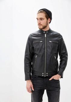 Куртка кожаная, Diesel, цвет: черный. Артикул: DI303EMHHMY7. Одежда / Верхняя одежда / Кожаные куртки