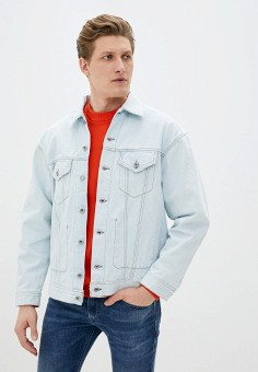 Куртка джинсовая, Diesel, цвет: голубой. Артикул: DI303EMIICF3. Одежда / Верхняя одежда / Джинсовые куртки