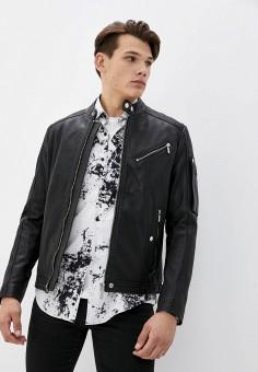 Куртка кожаная, Diesel, цвет: черный. Артикул: DI303EMJPHN3. Одежда / Верхняя одежда / Кожаные куртки